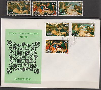 1980 NIUE EASTER Set of MUH Stamps plus FDC
