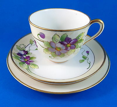 Handpainted Purple Violets Noritake Tea Cup, Saucer and Plate Trio Set