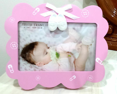 Pink Wooden Baby Girl With Booties Photo Frame- Nursery Decor Gift Baby Shower