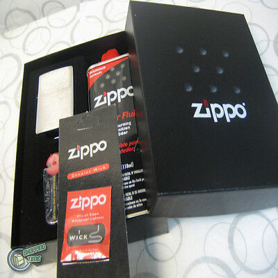 Zippo Lighter Gift Box Set Fluid Flints Wick Street Chrome 90210GP
