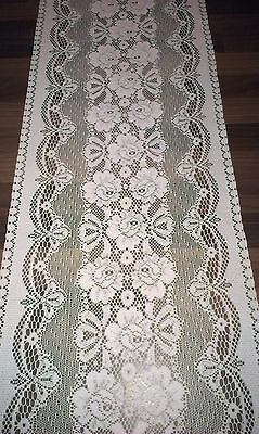 LARGE VINTAGE WHITE MACHINE LACE TABLE RUNNER