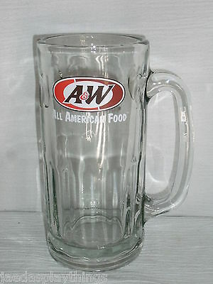 "A&W Root Beer Stein Mug 6.75"" All American Food Logo Glass Cup FREE US Shipping"
