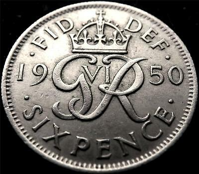 1950 GEORGE VI SIXPENCE 6d COIN HIGHER GRADE..