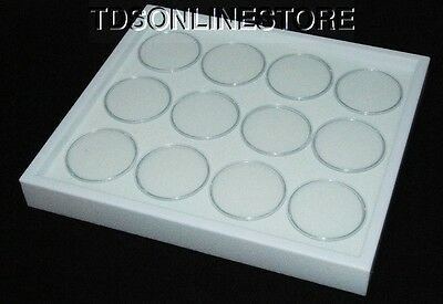 Gem Tray Stackable 12 Jars White Foam,white Tray