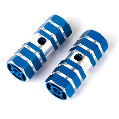 "Pair of BMX Cycling Bike Parts Bicycle 3/8"" Axle Alloy Foot Pegs Blue"