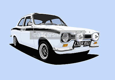 Ford Escort Mexico Mk1 Car Art Print Picture (Size A4). Personalise It!