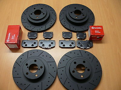 Honda S2000 2.0 05/99- Front Rear Dimpled Grooved Black Brake Discs Brembo Pads