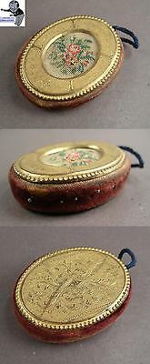 # Pin cushion with goldplated ornamentic decoration from 1900 rare  #