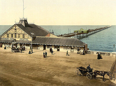Vintage Edwardian Seaside Photochrome Photo Reprint Herne Bay 2 A4