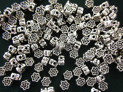 50 Antique Silver Coloured 5mmx3mm Flower Spacer Beads #sp1822 Beading Findings