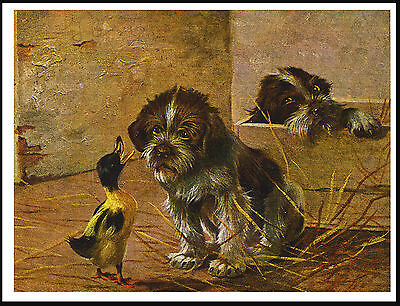 German Wirehaired Pointer Puppies And Small Duck Charming Dog Print Poster