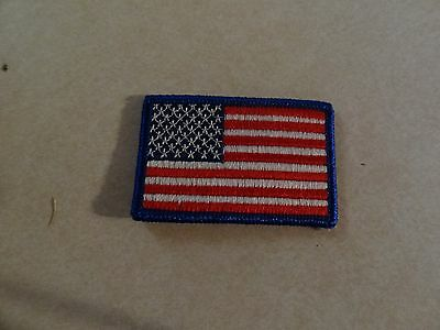 Genuine American Flag Patch Blue Trim 2 1/2 By 1 1/2 Inches Sew On