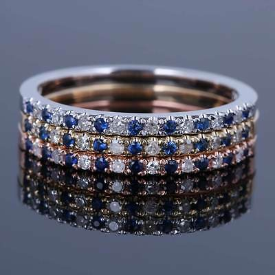 Solid 10K Rose Gold Eternal Band Pave Diamond Ruby Sapphire Wedding Fine Ring
