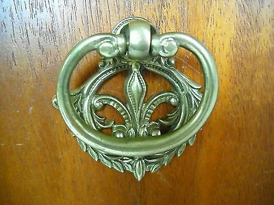 Antique Solid Cast Brass Victorian Ring Drawer Pull