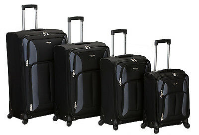 Rockland Impact 4 Piece Spinner Luggage Set Black