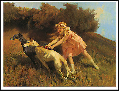 Greyhound Little Girl And Dogs Lovely Period Image On Dog Print Poster