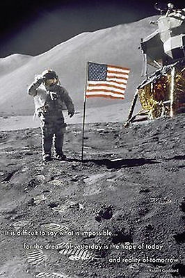 AMERICAN MOON LANDING - INSPIRATIONAL QUOTE POSTER 24x36 SPACE ASTRONAUT 36506