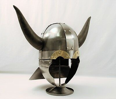 Viking Barbarian Warrior Helmet Medieval Armor with Horns & Display Stand