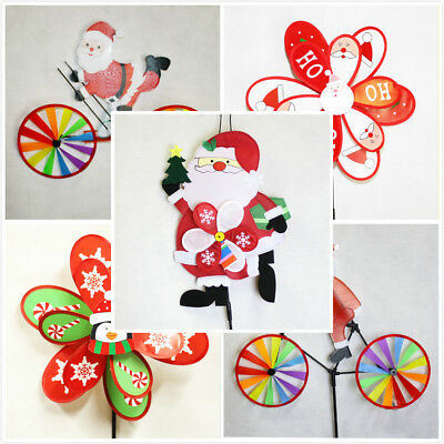 Christmas Windmill Santa Ride Bike Skiing Pengium XMAS Garden Decoration Gift