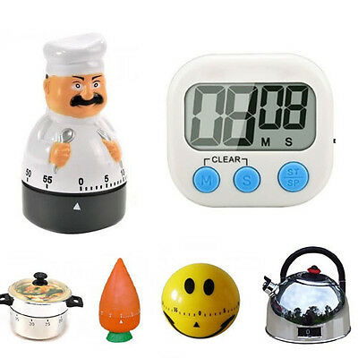 Multi Shapes 60 Minute Kitchen Timer Mechanical Alarm Gadget Bell Time Cooking
