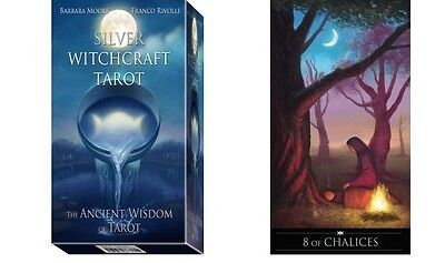 Silver Witchcraft Tarot Kit NEW 78 Cards silver foil 160 page Book Moore Favolli