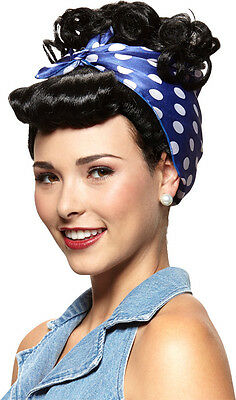 Rivetor Black Womens Ladies Wig, Adult, 50s Grease, Housewife Costume,  One-Size