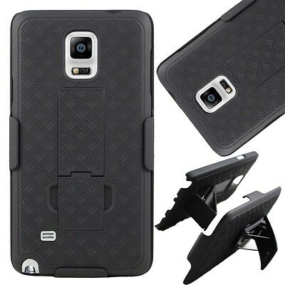 Black Shell Hard Case Cover + Belt Clip Holster Stand for Samsung Galaxy Note 4