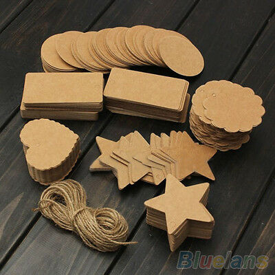 Fashion Blank Brown Kraft Paper Hang Tags Wedding Favor Label Gift Cards 100