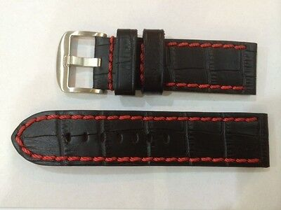 Watch Leather strap 24mm X 24mm Black with Red stitches mint in Condition