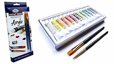 Artist's Acrylic Paint Set of 12 tubes + 2 Taklon Brushes by Royal & Langnickel