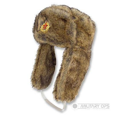 Faux Fur Trappers Hat Russian Brown Cossack Warm Soviet Ussr Cold Weather
