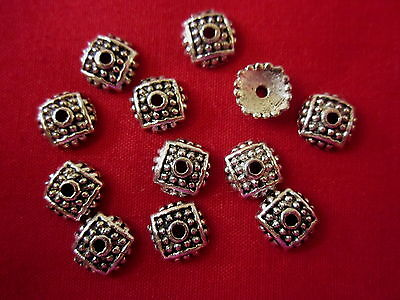 30 Antique Silver Coloured 8mm Bead Caps #bc1836 Combine Post-See Listing