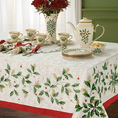 Lenox Holiday Holly Christmas Tablecloth Various Sizes