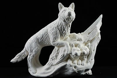 Ready to paint ceramic bisque - Wolf on Log with 2 Cubs  18 cm tall Handcrafted