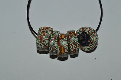 5 old rare matched venetian trade beads millefiori African lot, mosaic