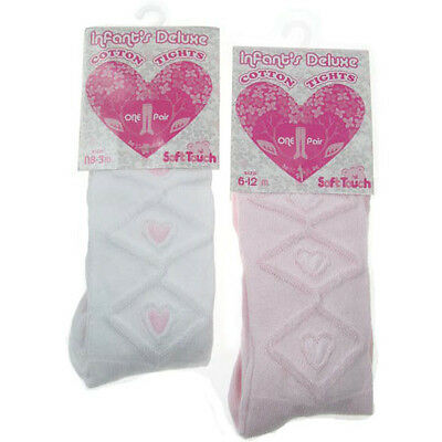 Baby Girl White/Pink tights by Soft touch with raised heart pattern 75% Cotton