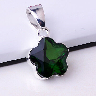 Classic Emerald Charming S80  Silver Necklace Pendant  *BXL-506