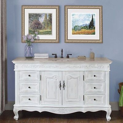 "60"" Marble Counter Single Sink Bathroom Vanity White Oak Finish Cabinet 273CM"