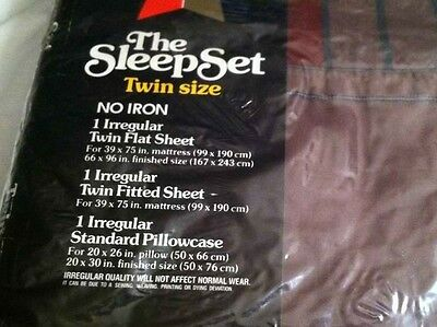 Meadowbrook Luxury Percale No Iron Twin Sheet Set/ NIP/ Stripped Colors