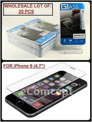 """Wholesale Lot of 20 Tempered Glass Film Screen Protector for 4.7"""" iPhone 6/ 6S"""