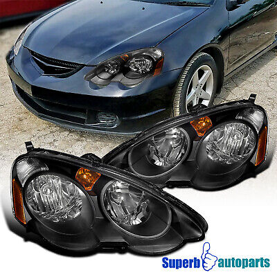 2002-2004 Acura RSX Diamond JDM Headlights Head Lamps Black