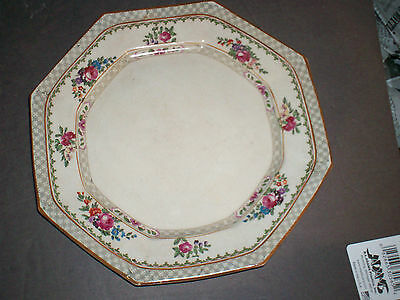 Antique Booths Silicon Dish England Rose Decorated 8 Sided