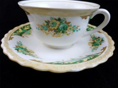 Antique Myott Staffordshire Greenland Green/Tan Floral Embossed Teacup+Saucer