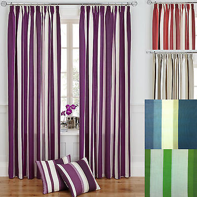 Striped Modern Pair Of Tape Top Fully Lined Ready Made Curtains Natural Plum Red