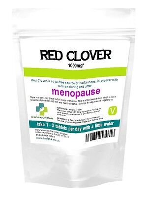 Red Clover 1000mg Lindens Tablets - Menopause, Hot Flushes (90/360/1000 pack)