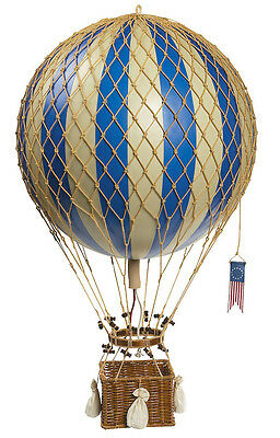 """Blue & White Striped Hot Air Balloon Model Hanging Aviation Decor Large 13"""""""