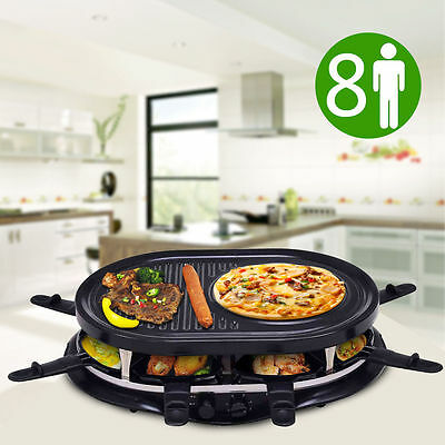 Multi Cooking Electric Raclette Grill 8 People Non-Stick BBQ Hotplate Roaster