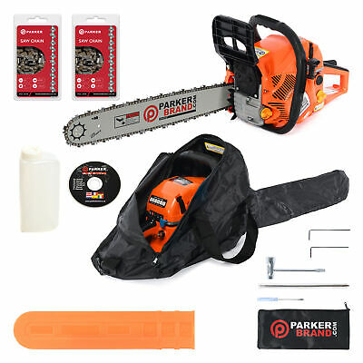 "58cc 20"" Petrol Chainsaw + 2 x Chains + More"