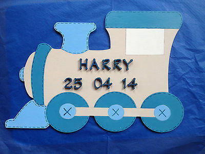 BABY BOY TRAIN wooden birth / christening/ gift plaque personalised name NEW