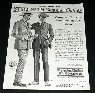 1919 Old Magazine Print Ad, Styleplus Clothes Summer Fabrics, Fashion Style Art!